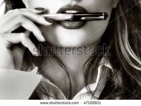 """Stock photo: Sexy woman with fountain pen.""  You can find anything on the internet."