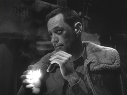 William Holden's bruised face, Stalag 17.