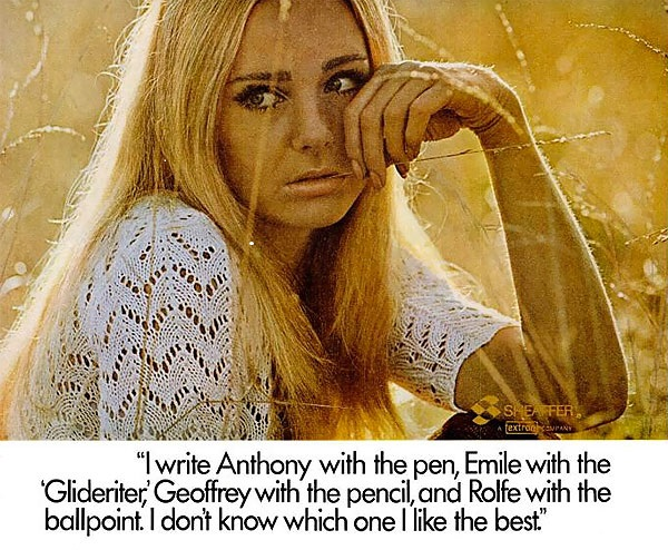 The Sheaffer Glidewriter,  and free love, 1967.
