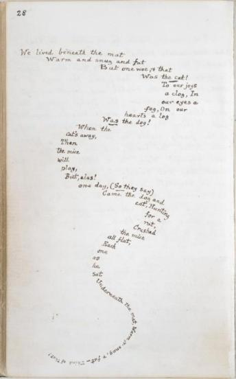 This beautifully epileptic passage is from the manuscript for Alice in Wonderland hand written and illustrated by the Lewis Carroll, 1862.