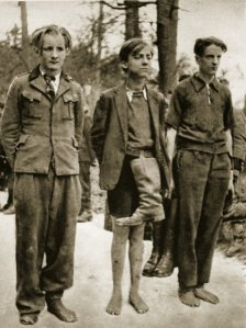 German soldiers, somewhere on the eastern front 1944-45, captured by Russian soldiers and stripped of their boots.