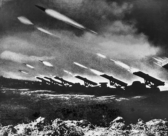 Some of the Red Army's several thousand Katyusha Rocket launchers pounding German positions on July 22. Thirty thousand guns opened fire on the front lines of Army Group Center for two hours before the infantry and tanks joined in.