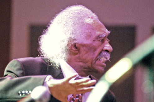 Gerald Wilson in the throes of creation in this priceless shot by Tony Gieske.