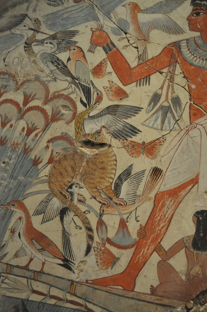 Detail of cat from the hunting scene (fowling scene) from the tomb of Nebamun, Thebes, Egypt, 18th dynasty, ca. 1400-1350 BCE.