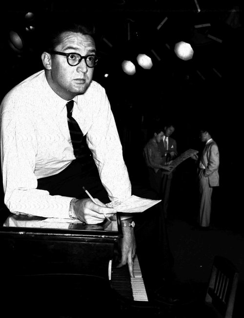 Steve Allen at rehearsal, 1954. A great photo from the Associated Press, no idea who took it.