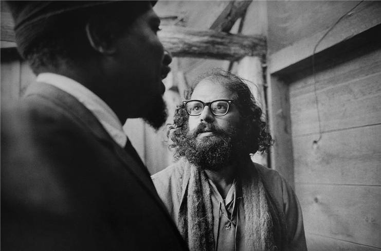 Allen Ginsberg and Thelonious Monk, backstage at the Monterey Jazz Festival, 1963, in a perfect photo by Jim Marshall.